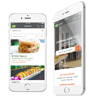 Ordering via ezCater on mobile phone